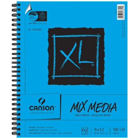 Canson XL Mixed Media Spiral Sketch Pad - 9 x 12 inches - 60 Sheets