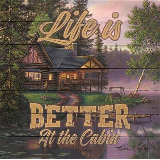 Artistic Reflections LA1013 10.5 x 10.5 in. Life Is Better At The Cabin Pallet Art Print Reclaimed Wood - image 1 of 1
