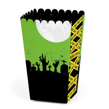 Halloween Popcorn Bar (Zombie Zone - Halloween or Birthday Zombie Crawl Party Favor Popcorn Treat Boxes - Set of)