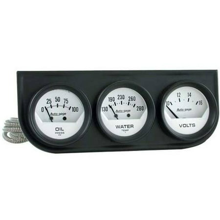 AUTO METER 2324 2IN 3 GAUGE CONSOLE, OIL/ WATER/VOLT, MECH, BLACK