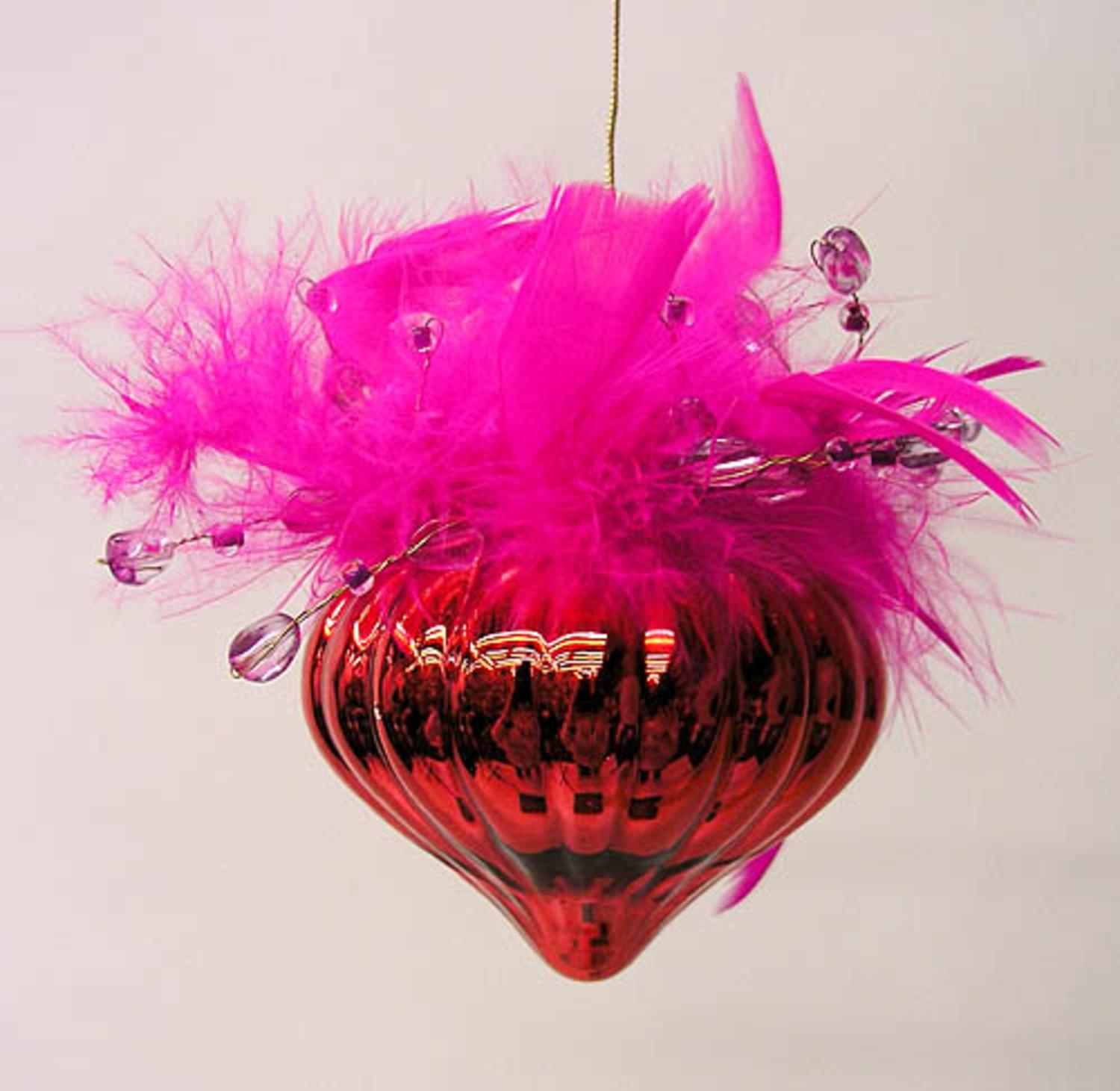 Red Valentine Cone w/ Faux Fur & Gems Christmas Ornament #4112499