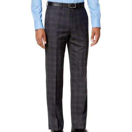 Plaid Wool Pants - Men 30X32 Modern Dress Plaid Wool Stretch Pants 30