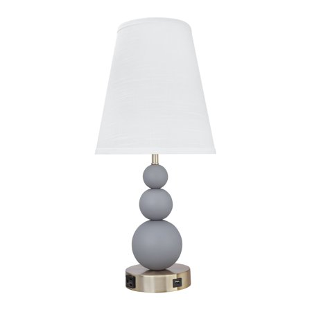 "Aspen Creative 40128, 24 3/4"" High Transitional Metal Table Lamp, Iron Grey Finish with Empire Lamp Shade in White, 11"" wide"