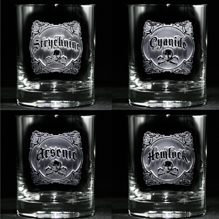 Crystal Imagery Name Your Poison Whiskey Glass set of 4 ()