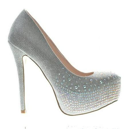Kinko4 by De blossom Collection, High Heel Stiletto Dress Pump Rhinestone Studded Closed Toe Women Shoe - Heel Collection