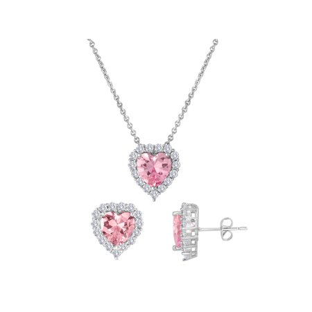 Simulated Pink Sapphire and CZ Fine Silver-Plated Boxed Set with Earring and Pendant, 18