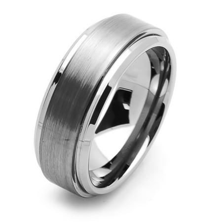 Men Women Tungsten Carbide Wedding Band Ring 8mm Comfort Fit Beveled Edges For Men & Women