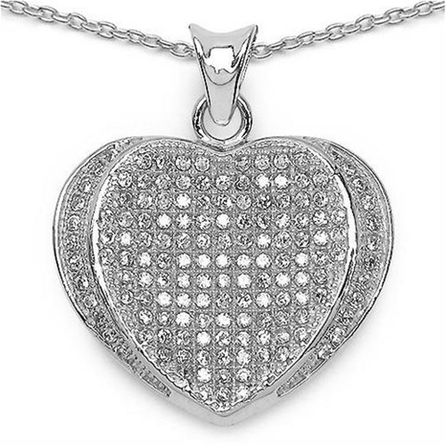 Majesty Diamonds Round Cut White Cubic Zirconia Heart Pendant in 0.925 Sterling Silver With Chain, 1.5 Carat