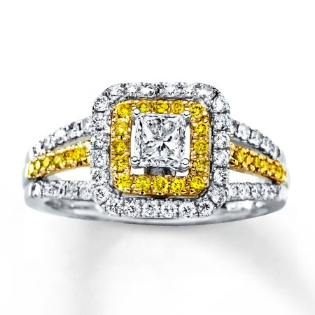1 Carat Princess cut Diamond and Citrine Engagement Ring in White Gold