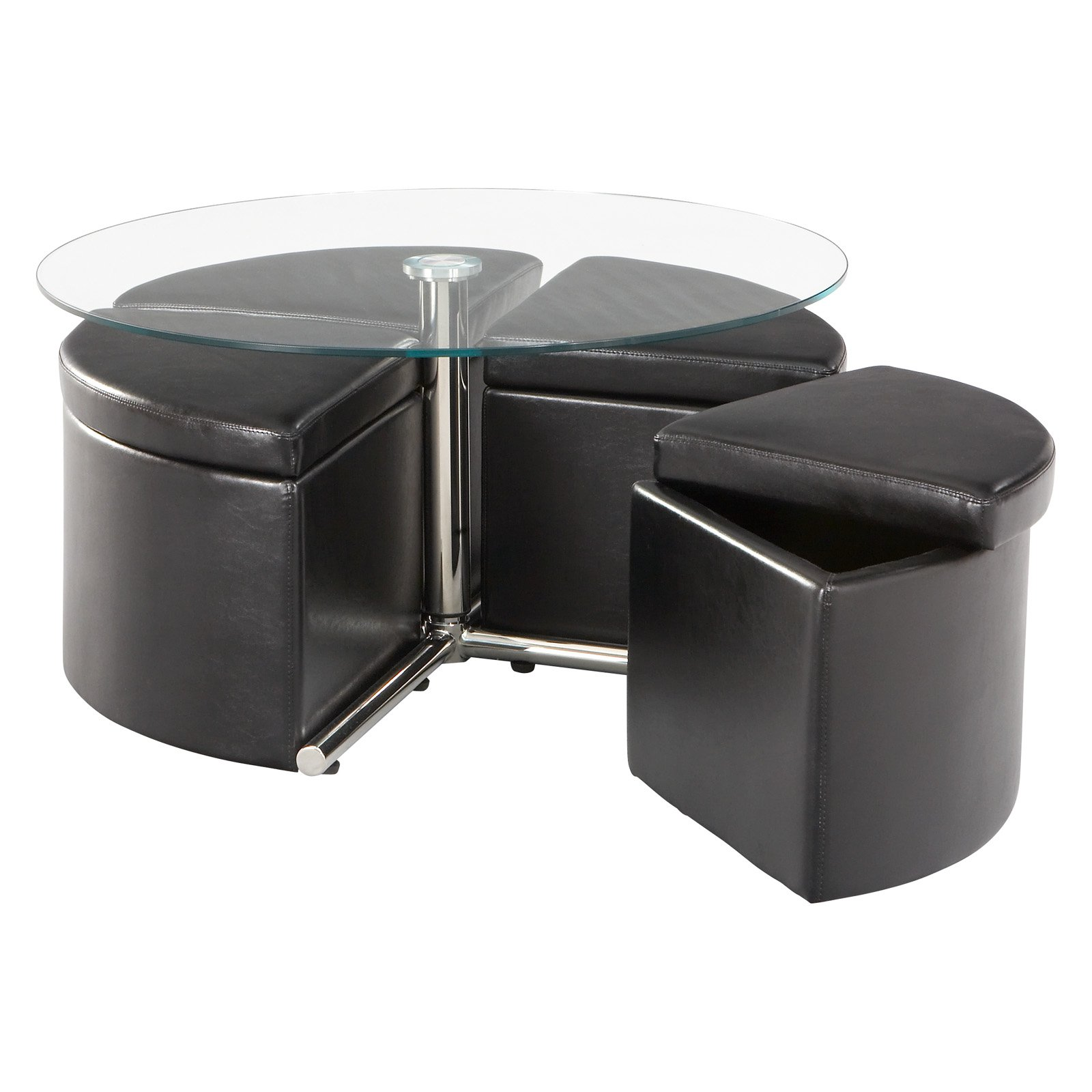 standard furniture cosmo adjustable height round glass top coffee table with 4 storage ottomans