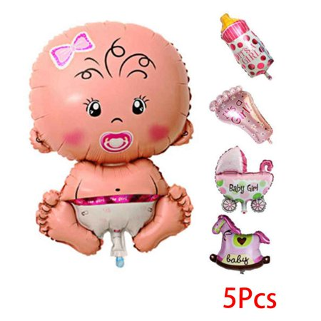 5 PCS Baby Cartoon Shower Balloons Inflatable Helium Foil Decoration Boy Girl Birthday Party - Toddler Boy Birthday Party