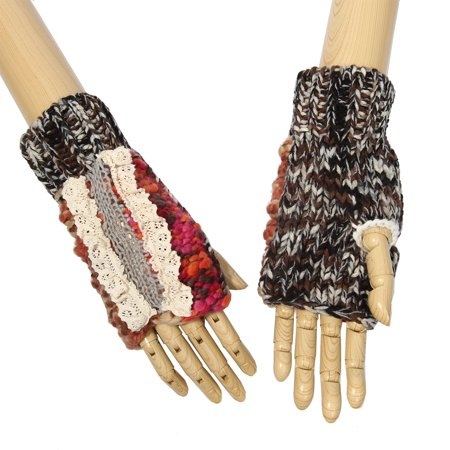 Multi-Color Soft Be Real Laced Line Pattern Design Knitted Fingerless Gloves