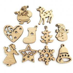 Fancyleo 100 Pcs Christmas Environmentally Friendly Natural Retro Color Creative Cartoon Wood Crafts Xmas Tree Ornaments Christmas Party Decorations - Christmas Cartoon Tree