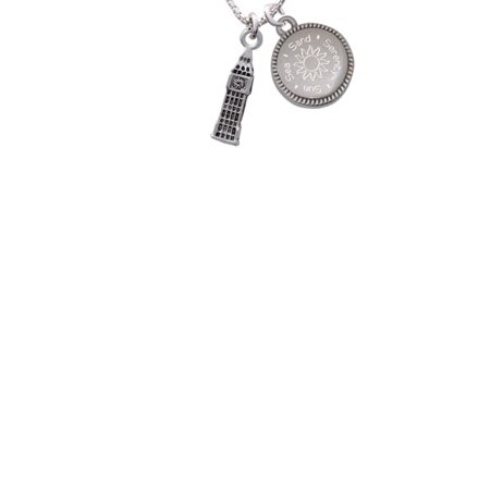 London's Big Ben Clock Tower Sun Sea Sand Serenity Engraved Necklace - Big Clock Necklace
