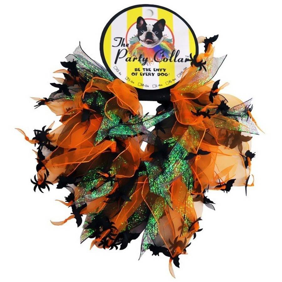 """Halloween Party Collar, Spider & Bats, Small, 10"""""""