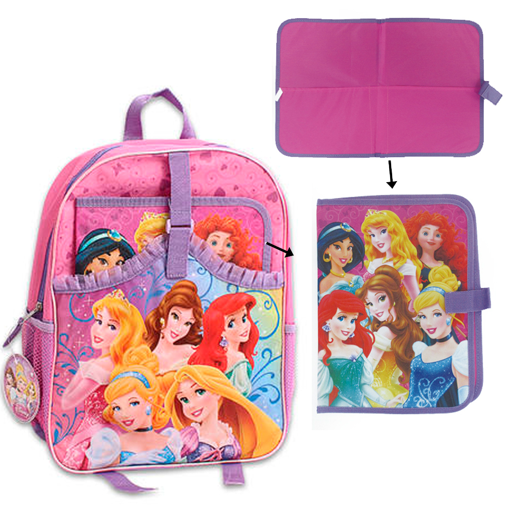 "Disney Princess Backpack 16"" Pink Book Bag Folder School Girls Cinderella Belle"