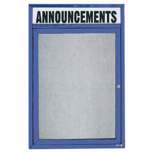 Aarco Products ODCC2418RHIB 1-Door Illuminated Outdoor Enclosed Bulletin Board with Header - Blue