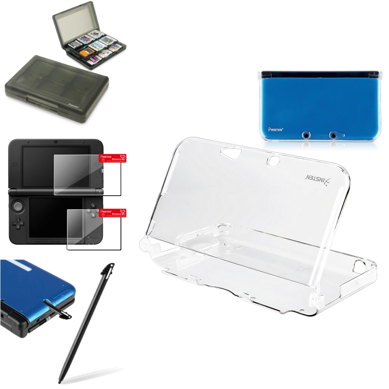 Insten Crystal Case+Smoke 28in1 Card Case+2-LCD Film+Blk Stylus For Nintendo 3DS XL