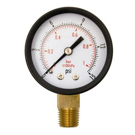 """2"""" Utility Pressure Gauge - 1/4"""" NPT Lwr Mount, 15PSI GSAD2012-015UPD"""