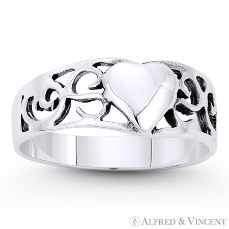 6.5mmx7mm Heart Charm & Filigree Curved Band in Oxidized .925 Sterling -