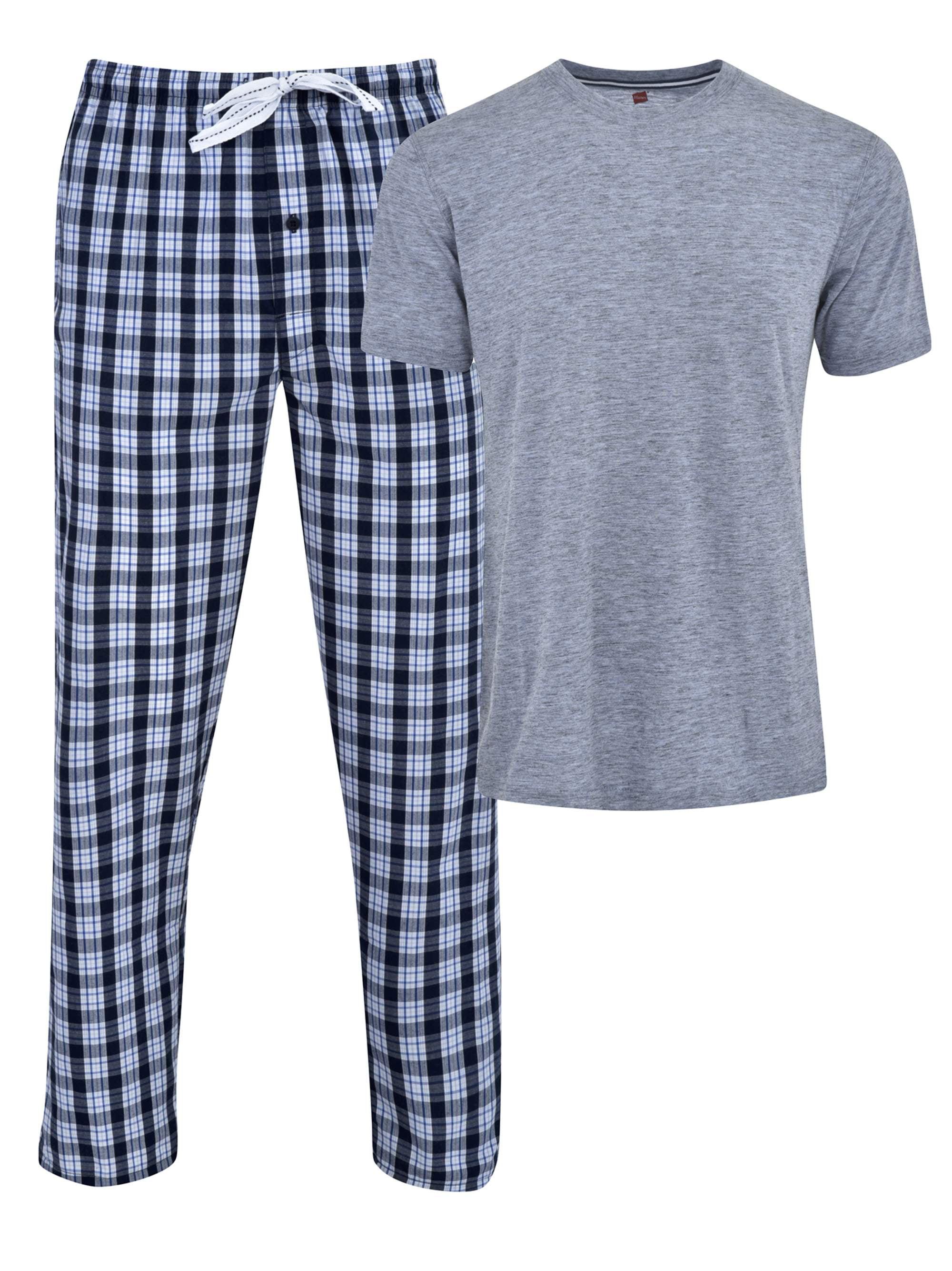 Men's Short Sleeve Crew Top With Woven Sleep Pant Set
