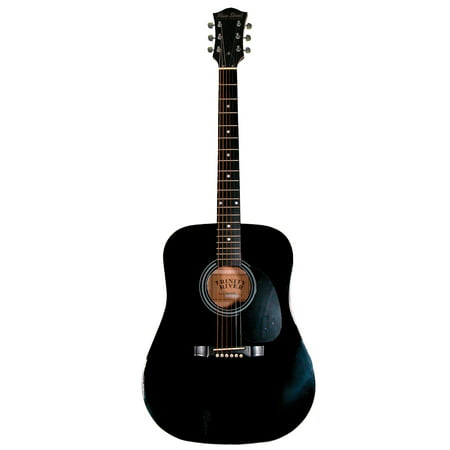 Black Folk Guitar Set - Main Street MA241BK 41-Inch Acoustic Dreadnought Guitar With High Gloss Black Finish