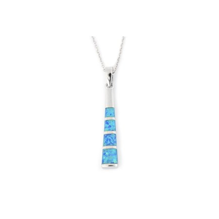 Solid Sterling Silver Rhodium Plated Blue Inlay Simulated Opal Long Vertical Bar Pendant Necklace