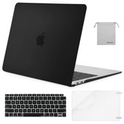 Mosiso 4 in1 Macbook New Air 13 inch Hard Cover Case A1932 Touch ID 2018,Black