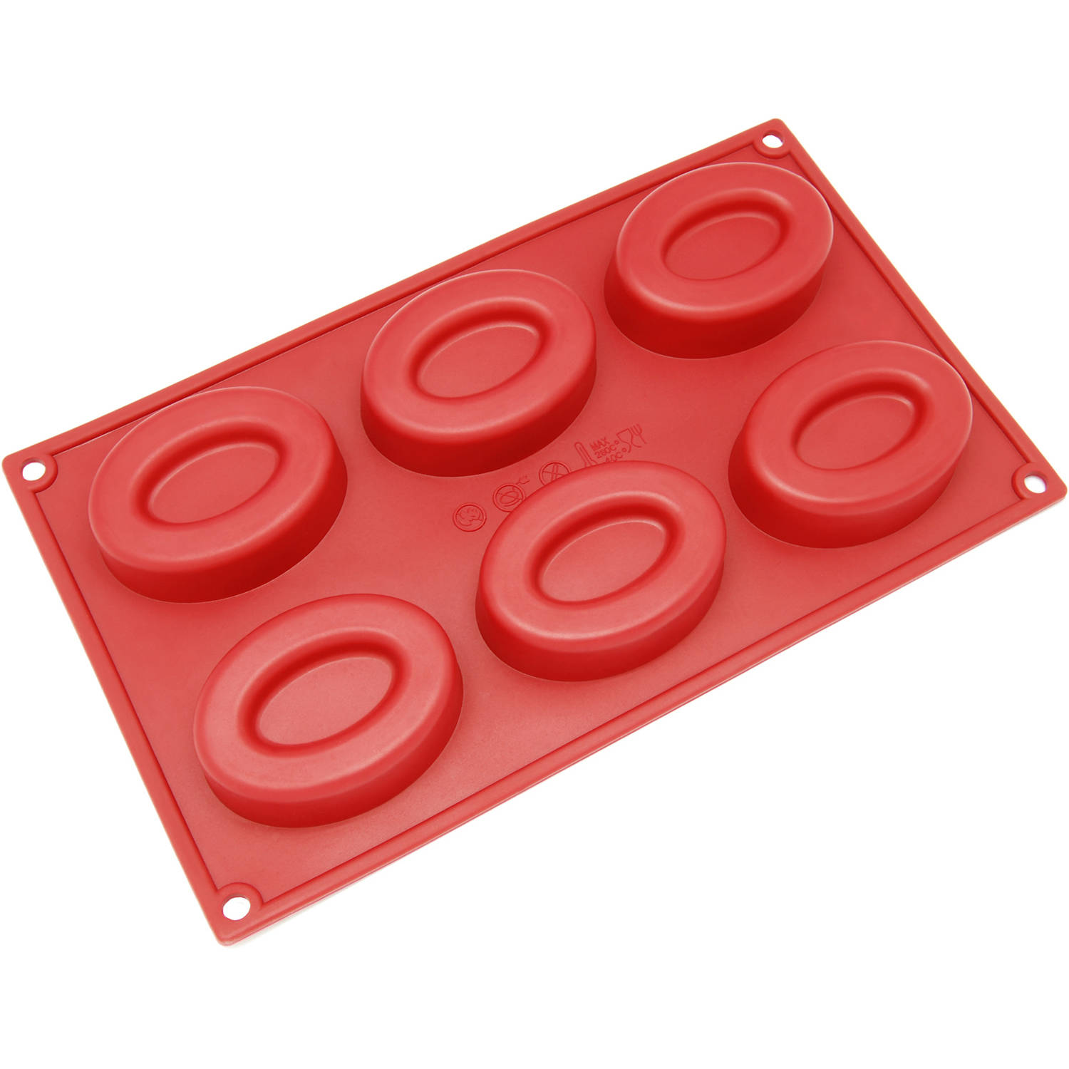 Freshware 6-Cavity Oval Ring Silicone Mold for Muffin, Soap, Cupcake, Cheesecake, Pudding and Jello, SL-132RD