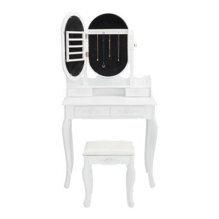 UBesGoo Vanity Set w/ Jewelry Mirror Cabinet Makeup Up Dressing Table Desk 4 (Adara Wood Vanity Cabinet)