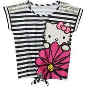 Hk Flower Stripe Lace Shoulder Tie Top