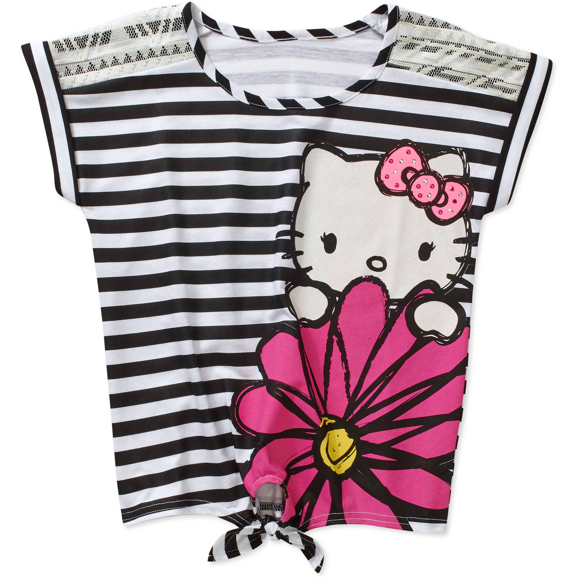 Hk Flower Stripe Lace Shoulder Tie Top