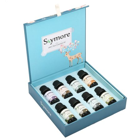 Skymore Essential Oils Gift Set Plants Therapeutic Grade,8x10 ml ,for Aroma Diffuser, Lemongrass, Lavender, Tea Tree, Eucalyptus, Orange, Mint, Frankincense and Rosemary