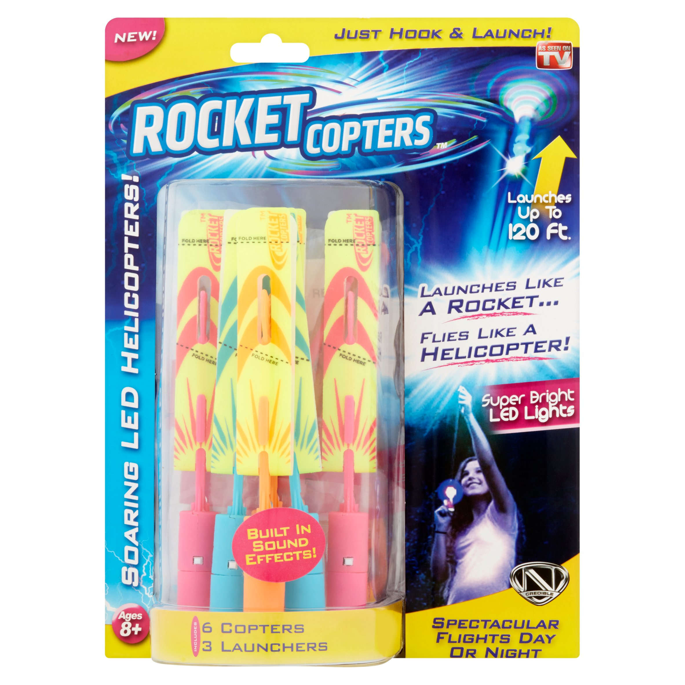 As Seen on TV Rocket Copters, Slingshot LED Heliptors