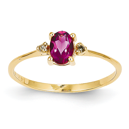 14k Diamond & Pink Tourmaline Birthstone Ring by Saris and Things QG