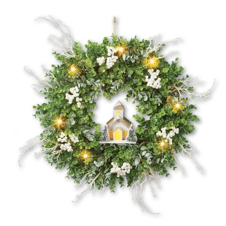 Light Up Winter Wreath with Lit Church and Frosted Twigs, Beautiful Winter Decoration