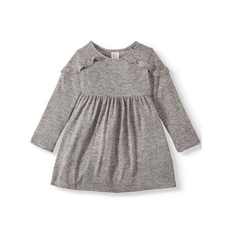 Wonder Nation Long Sleeve Hacci Ruffle Dress (Toddler (A Girl Kiss A Girl Without Dress)