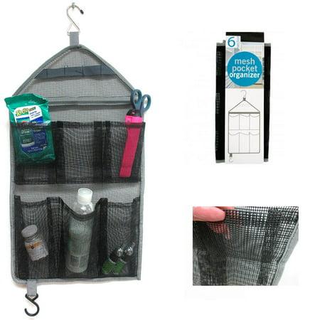 1 Hanging Mesh Organizer 6 Pockets Closet Toiletry Hook Hanger Tie Scarf Storage