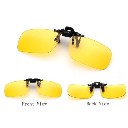 1Pair Flip-up Polarized Glasses Day Night Vision Clip-on Lens Driving Sunglasses Color:Yellow (Yellow Lenses At Night)