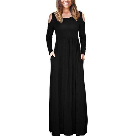 Women Long Sleeve Maxi Dress Plain Loose Swing Casual Floor Length Pure Color Long Dress Dress Floor Length Dress