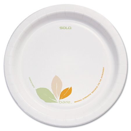 "Dart Bare Paper Eco-Forward Dinnerware, 8 1/2"" Plate, Green/Tan, 250/Carton -SCCOFMP9J7234"