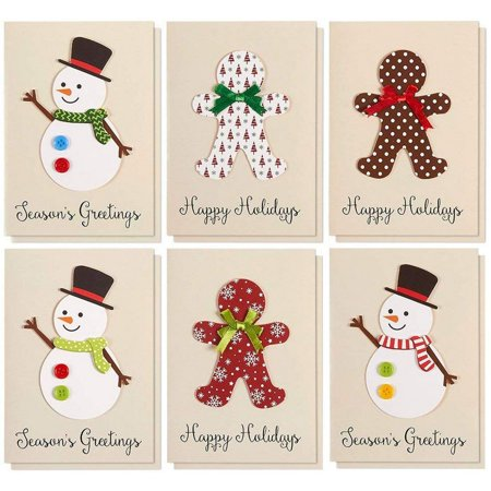 Set of 12 Merry Christmas Greetings Cards Set - Happy Holidays and Season's Handmade Xmas Cards in 6 Snowman and Gingerbread Man Themes, Includes White V-Flap Envelopes, 5 x 7 Inches ()