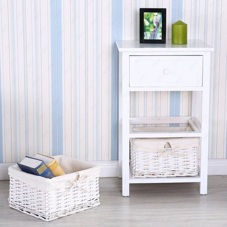 Two Drawer Bed Side Cabinet - Mecor Shabby Chic Nightstand End Side Table Bedroom Bedside Home Furniture 3 Tiers w/1 Drawer and 2 Wicker Basket Storages Wood Organizer Cabinet White