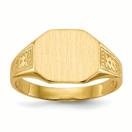 14K Yellow Gold 9.5 MM Square Engravable Signet Ring, Size 6