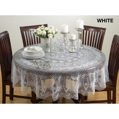 Vinyl Cutwork Tablecloth Ecru, 72 Inches Round