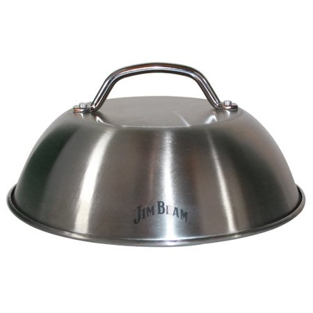 Jim Beam 9'' Grilling Stainless Steel Burger Cover and Cheese Melting Dome, Melts Cheese on Burger, Potato, Pizza, Bruschettas and More