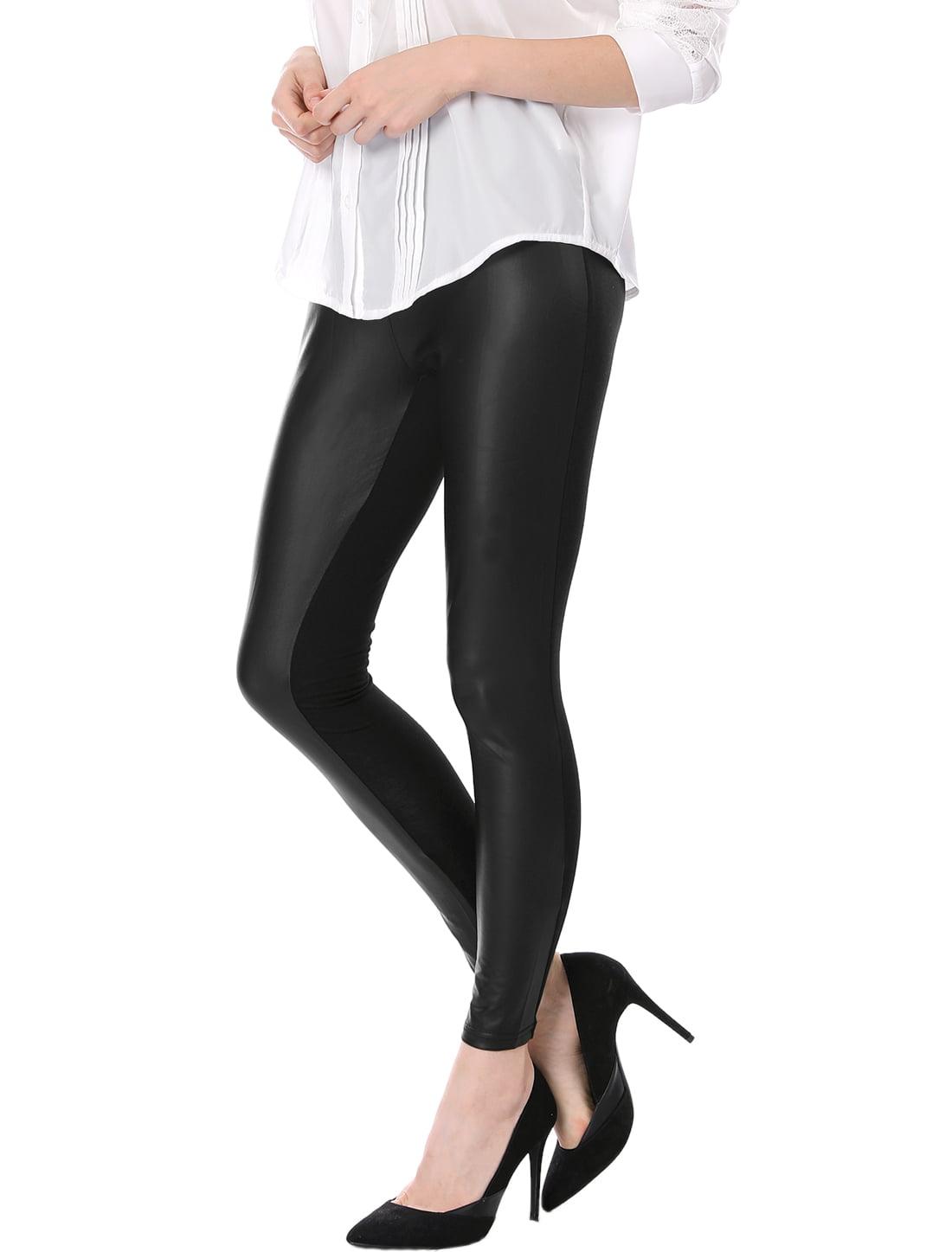 Unique Bargains Faux Leather Front Women s XS Skinny Pencil Pants ... 431dd0e1c