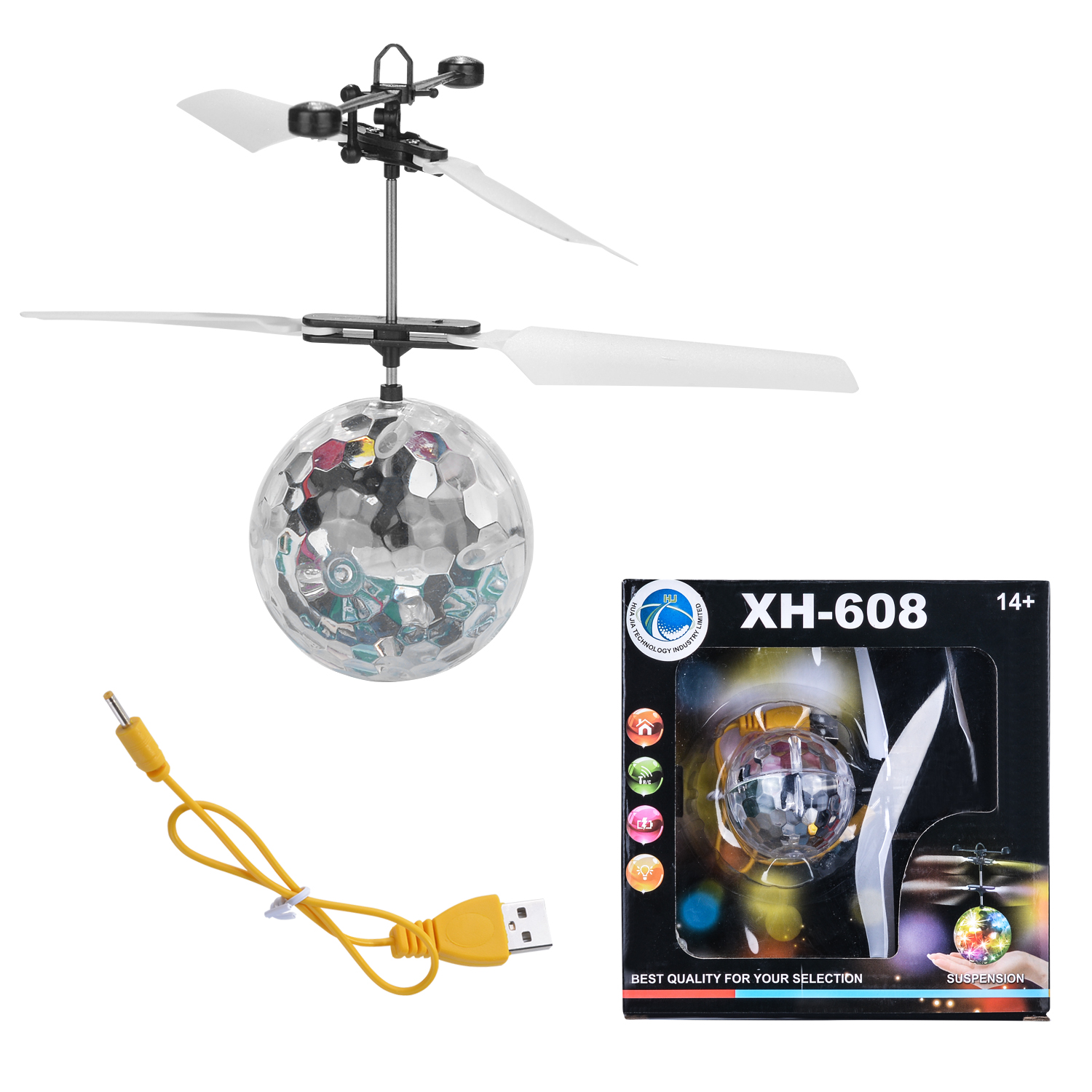 AGPtek Flying Ball Helicopter with Magic Electric Infrared Sensor LED Light Toy Kids Gift Upgraded version