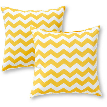 Greendale Home Fashions Outdoor Accent Pillows, Set of 2, Yellow Zig Zag