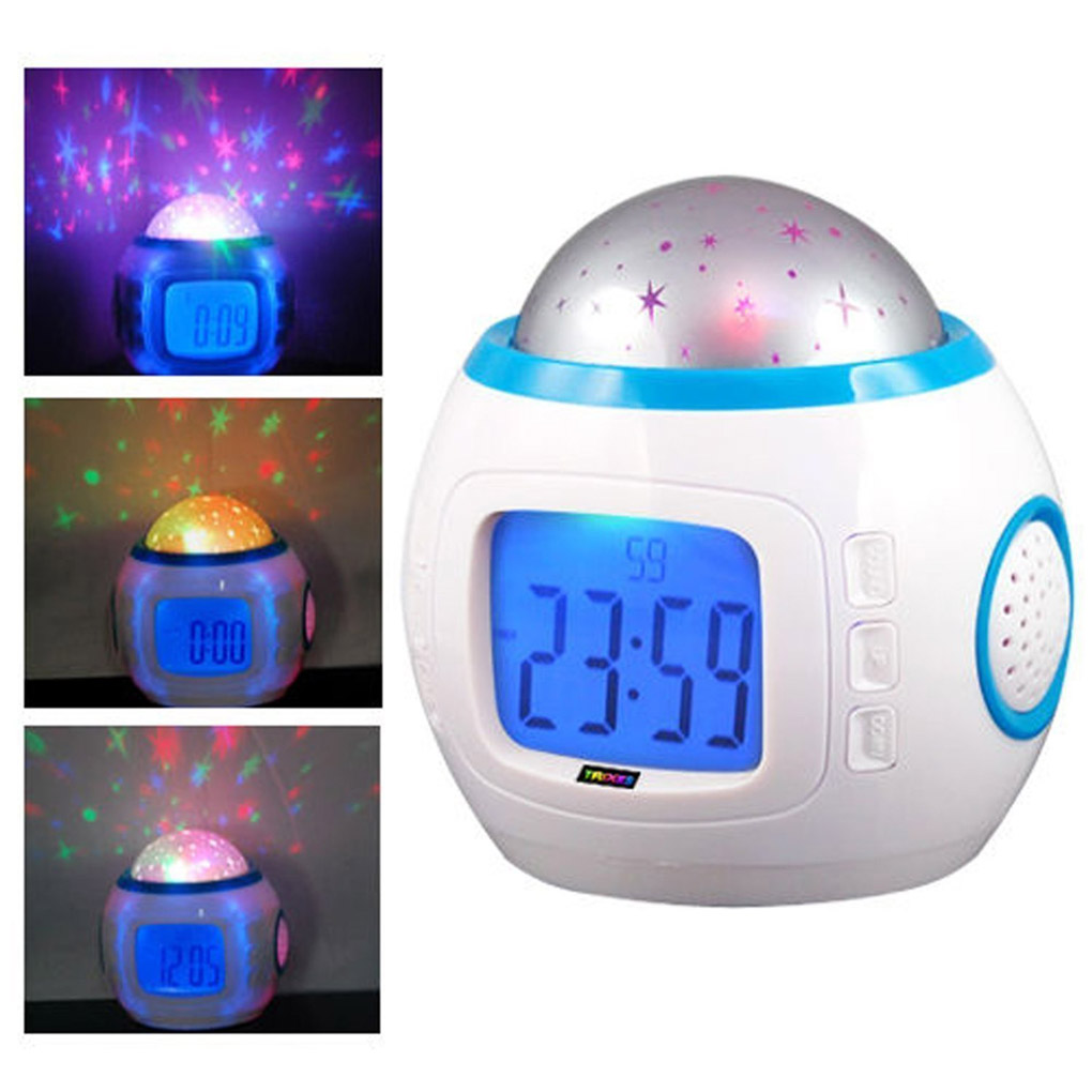 SupremeDeals Children Room Sky Star Night Light Projector Lamp Alarm Clock sleeping music
